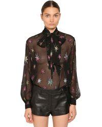 Saint Laurent Рубашка Из Смешанного Шелка - Черный