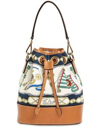 Etro Marina キャンバス&レザーバケットバッグ - マルチカラー