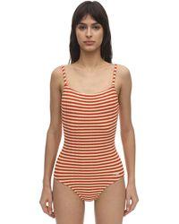 Solid & Striped The Nina Gerippter Badeanzug Mit Streifen - Orange
