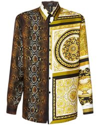 Versace Шёлковая Рубашка С Принтом - Металлик