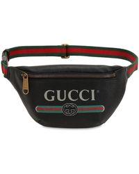 Gucci Riñonera De Piel Con Estampado - Negro
