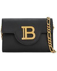 Balmain B-envelopeレザーショルダーバッグ - ブラック