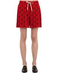 """Gucci Shorts Plisados """"Gg Supreme"""" De Algodón Jersey - Rojo"""