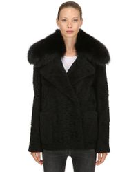 Yves Salomon - Shearling Jacket W/ Fox Fur Collar - Lyst