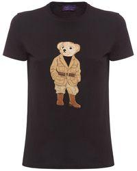 Ralph Lauren Collection T-shirt Aus Baumwolljersey Mit Druck - Schwarz