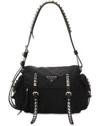 b5e0a272ec58 Prada Studded Nylon Messenger Bag in Black - Lyst