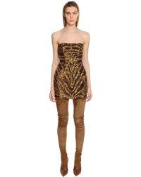 Balmain - Tiger Sequined Bustier Mini Dress - Lyst