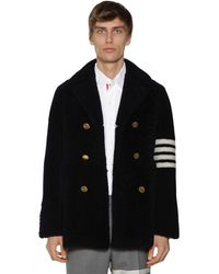 Thom Browne Unconstructed Shearling Fur Coat W/4 Bar - Blue