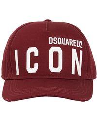 DSquared² Casquette En Gabardine De Coton Détail Icon - Rouge