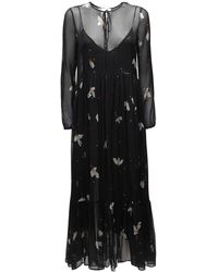 Forte Forte Платье Миди Из Шелкового Шифона - Черный