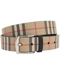 Burberry Vintage Check E-canvas and Leather Belt - Natur