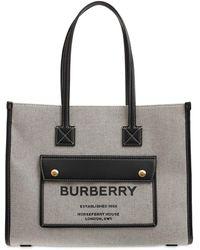 Burberry - Freya レザー&キャンバストートバッグ - Lyst