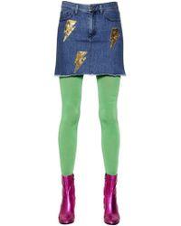 Au Jour Le Jour - Thunderbolt Sequined Washed Denim Skirt - Lyst