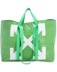 Off-White c/o Virgil Abloh Logo Printed Pvc Tote Bag - Green