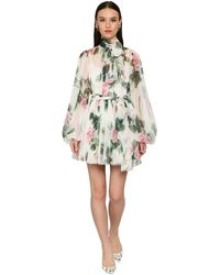 Dolce & Gabbana Printed Chiffon Sheer Mini Dress - Multicolour