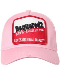 DSquared² コットンキャンバスキャップ - ピンク