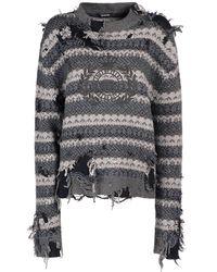 Balenciaga Трикотажный Свитер Из Шерсти - Серый