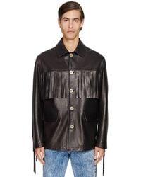 Versace Fringed Leather Jacket - Black