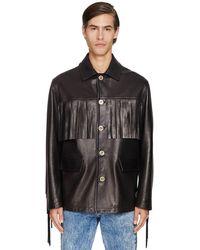 Versace フリンジレザージャケット - ブラック