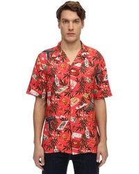 Nikben Rablo Printed Viscose Bowling Shirt - Rot
