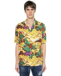 DSquared² Bowlinghemd Aus Viskose Mit Druck - Mehrfarbig