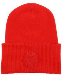 Moncler Cappello In Maglia Di Lana Con Logo - Rosso