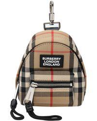 Burberry ベージュ Vintage チェック バックパック キーチェーン - マルチカラー