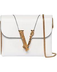 """Versace Brieftasche Aus Glattleder """"virtus"""" - Weiß"""