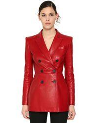 Alexander McQueen Пиджак Из Кожи Наппа - Красный