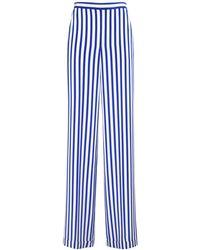 Ralph Lauren Collection Pantalon En Crêpe De Chine De Soie Avec Imprimé - Bleu