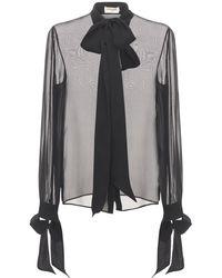 Saint Laurent シルククレープモスリンシャツ - ブラック