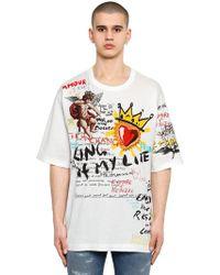 Dolce & Gabbana - Oversize Mural Printed Cotton T-shirt - Lyst
