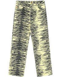 Ganni Jeans Bootcut In Cotone Organico Stampato - Multicolore