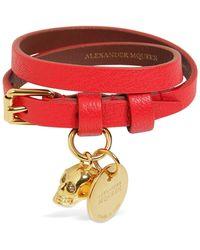 Alexander McQueen Doppelarmband Aus Leder - Rot