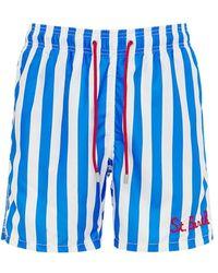 Mc2 Saint Barth Embroidery Logo Stripes Tech Swim Shorts - Blue