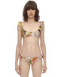 Zimmermann Bonitra Ruffled Lycra Bikini - Natural