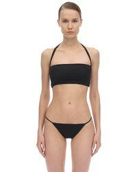 AEXAE Halter Neck Lycra Bandeau Bikini Top - Black