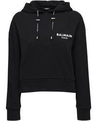 Balmain Sweat-Shirt En Jersey De Coton À Capuche - Noir
