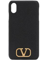 Valentino Garavani Cover Iphone Xs Max In Pelle Martellata - Nero