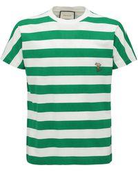 Gucci T-shirt Aus Baumwolle Mit Logo - Blau