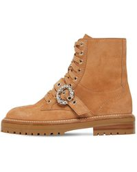 Jimmy Choo 30mm Cora Suede Combat Boots - Brown