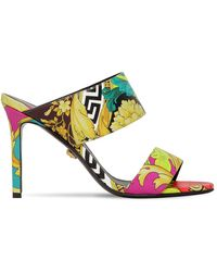Versace Barocco Print 95mm Sandals - Yellow