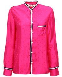 Marni ジャカードロゴサテンシャツ - ピンク