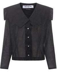 Acheval Pampa Evita コットンボイルシャツ - ブラック