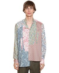 Loewe Asymmetric Patchwork Cotton Poplin Shirt - Multicolour