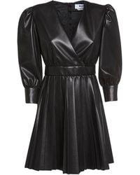 MSGM Pleated Faux Leather Mini Dress - Black