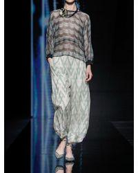Giorgio Armani Bedrucktes Poncho-hemd Aus Seidenlamé - Mehrfarbig