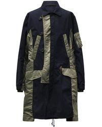 Sacai Abrigo Militar Bicolor De Nylon Y Algodón - Azul