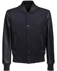 Givenchy レザー&ネオプレンボンバージャケット - ブラック