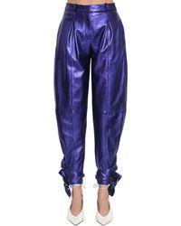 The Attico Leather Lamé Trousers W/ankle Bows - Purple